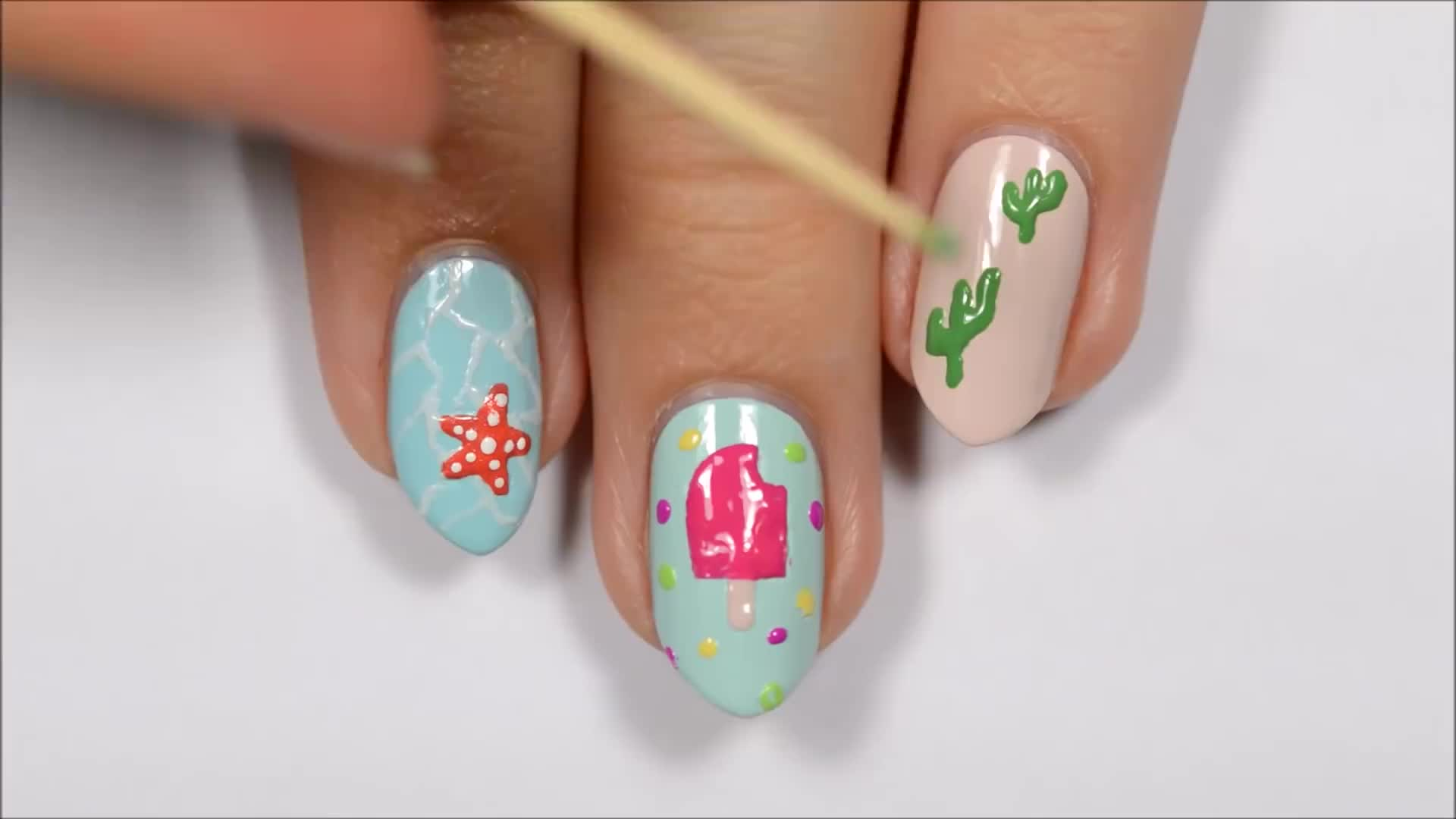 Nail Art For Summer Using A TOOTHPICK!